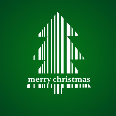Abstract green Christmas tree barcode background  Vector