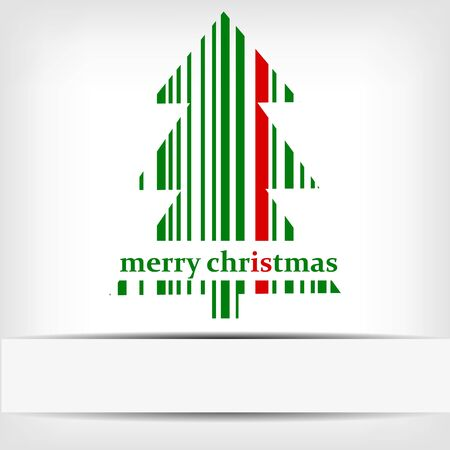 Abstract green Christmas tree barcode background - vector illustration Stock Vector - 17329471
