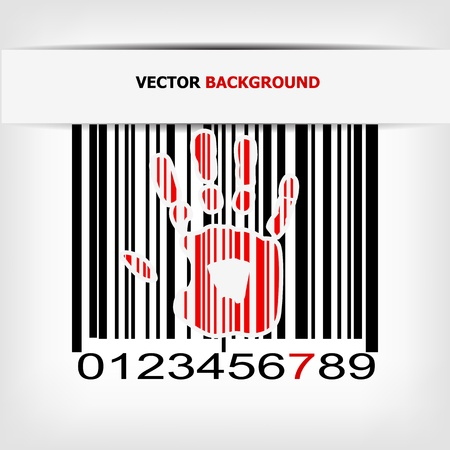 Barcode image with red strip - vector illustration Stock Vector - 17348084