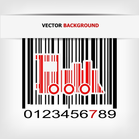 Barcode image with red strip - vector illustration Stock Vector - 17348077