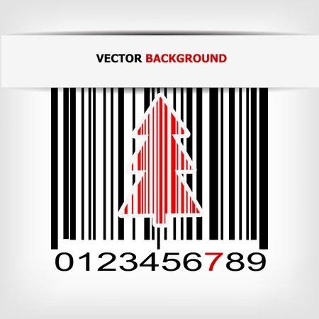 Abstract green Christmas tree barcode background - vector illustration Vector