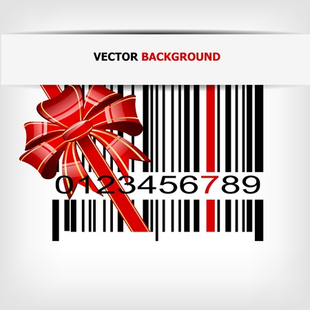 Barcode image with red strip and bow Vector