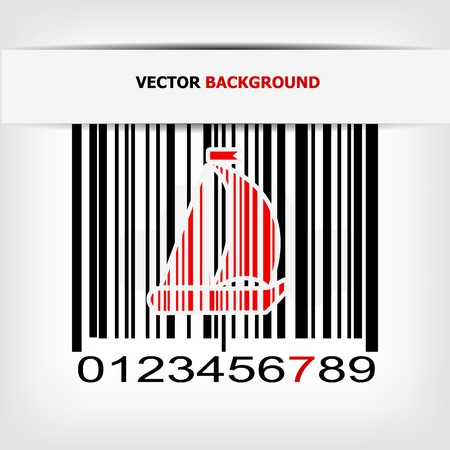Barcode image with red strip Stock Vector - 17885618