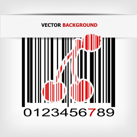 Bar code image with red strip illustration Vector