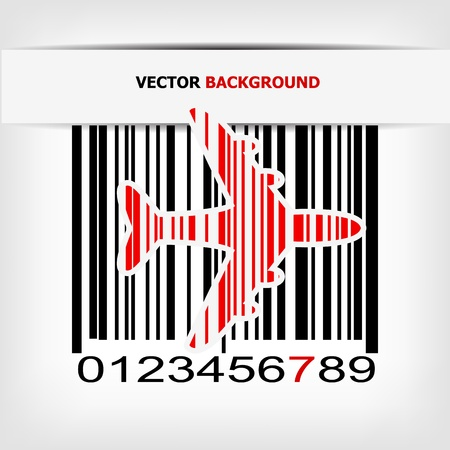 Bar code image with red strip illustration Stock Vector - 19008671