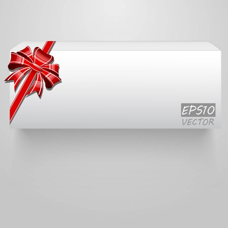 Abstract white box, bow and ribbon illustration Vector
