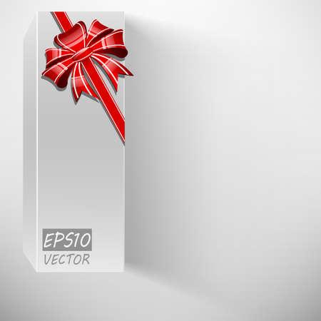 Abstract white box, bow and ribbon illustration Stock Vector - 19008876