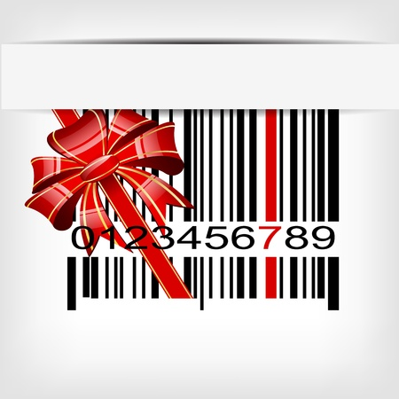 Bar code image with red strip and bow illustration Vector