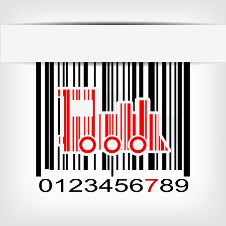 Bar code image with red strip illustration Stock Vector - 19008607