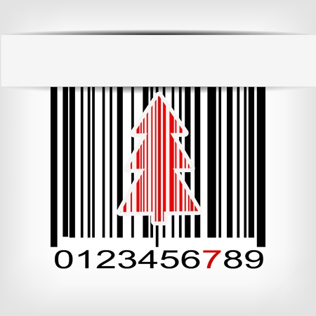 Abstract green Christmas tree bar code background illustration Vector