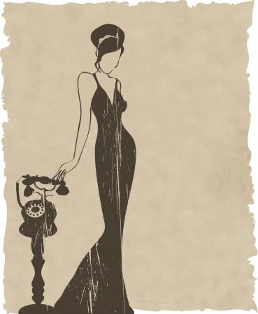 ragazza al telefono: l'epoca retr� silhouette donna sfondo illustrazione Vettoriali