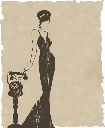 retro phone: the vintage retro woman silhouette background illustration