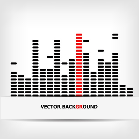Monochrome digital equalizer background with red strip illustration Stock Vector - 19008687