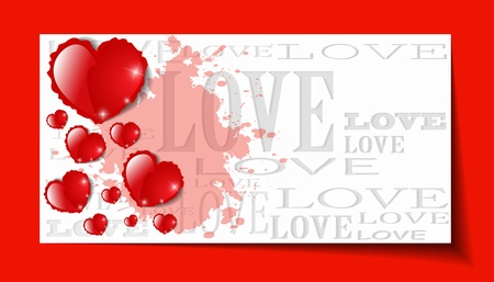 Heart from paper Valentines day card grunge background -  illustration Vector
