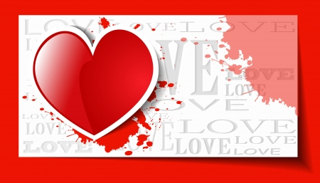Heart from paper Valentines day card grunge background -  illustration Stock Vector - 20099221