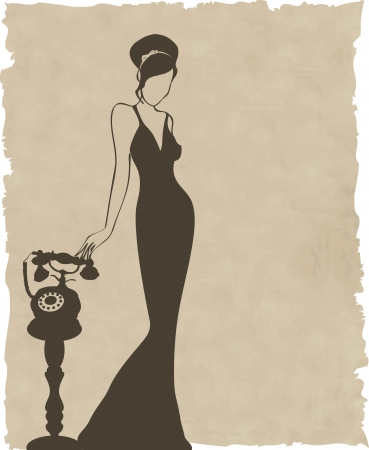 the vintage retro woman silhouette background - illustration Vector