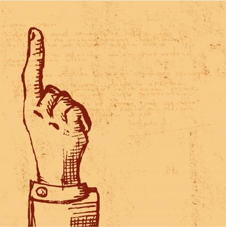 gravure: retro Vintage pointing hand drawing - illustration Illustration