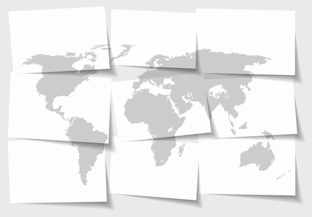 Abstract World map concept of separated note papers background - illustration