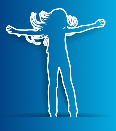abstract silhouette jump girl background - illustration Vector