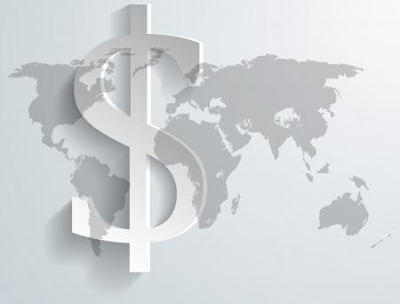 Background of dollar symbol on world map - illustration Vectores