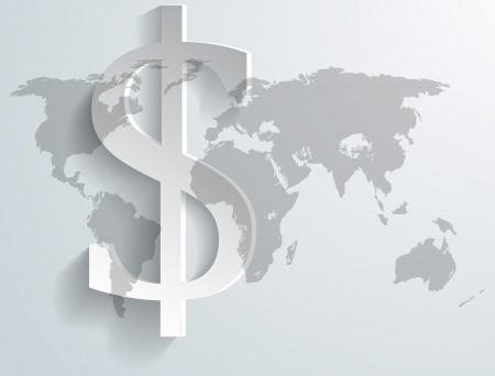 Background of dollar symbol on world map - illustration Illustration