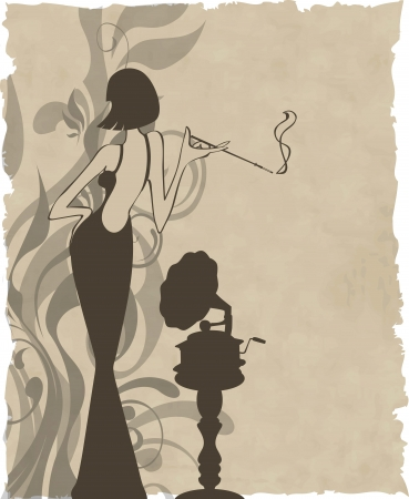 retro girl with old gramophone background -  illustration