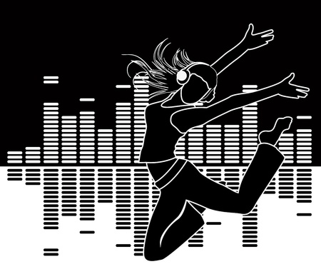 musical equalizer and silhouette girl running - vector illustration Vector