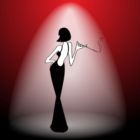 cabaret stage: Abstract retro girl on scene - vector illustration