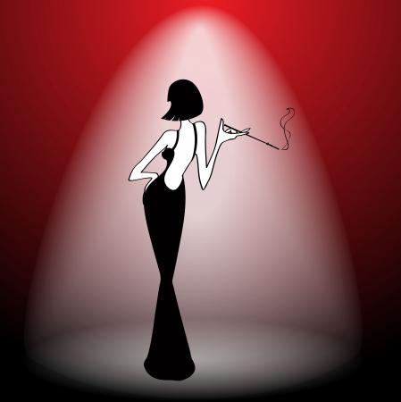 cabaret: Abstract retro girl on scene - vector illustration