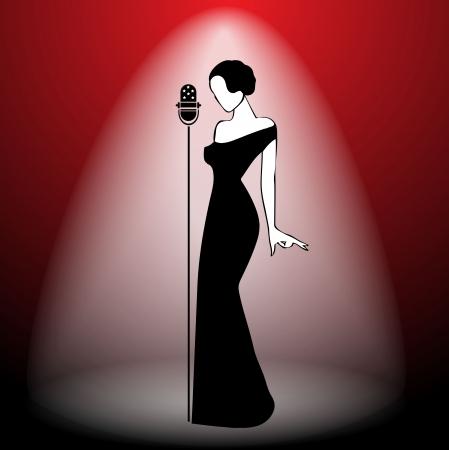 cabaret stage: Abstract chica retro en escena - ilustraci�n vectorial