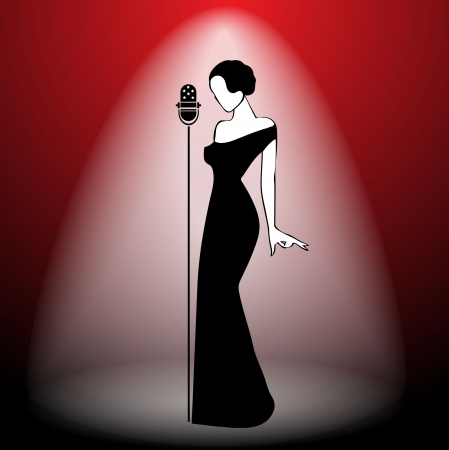 singer with microphone: Abstract retro girl on scene - vector illustration