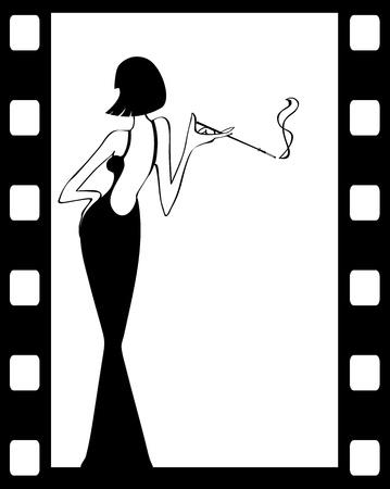 de uitstekende retro vrouw silhouet achtergrond-vector illustratie