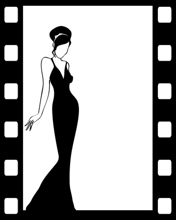 glamors: the vintage retro woman silhouette background -vector illustration
