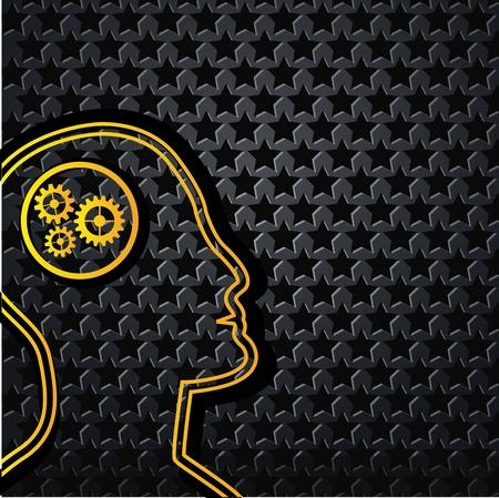 steel head: Abstract yellow technology head on star background - vector illustration