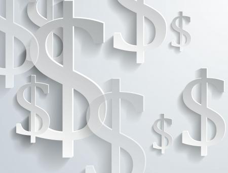 White dollar symbols on white background - vector illustration