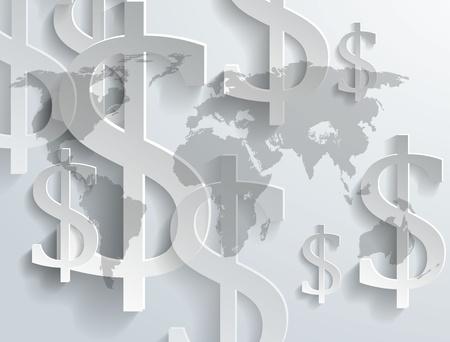 money background: Background of dollar symbol on world map - vector illustration