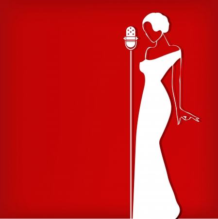 singer with microphone: Abstract retro girl on red - vector illustration