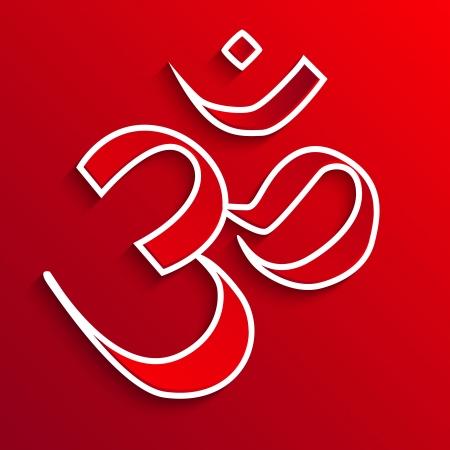 om symbol on red - vector illustration Illustration