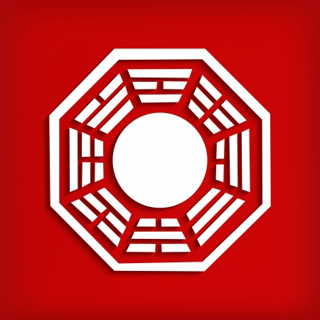 dao: Chinese Bagua symbol on red - vector illustration