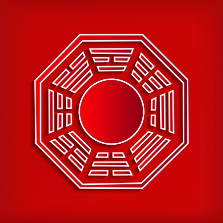 fengshui: Chinese Bagua symbol on red - vector illustration