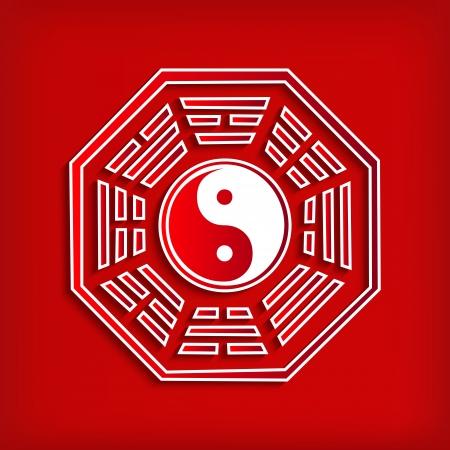 赤 - ベクター グラフィックに中国八卦シンボル