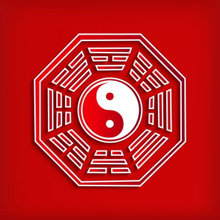 cosmology: Chinese Bagua symbol on red - vector illustration