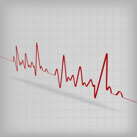 Red Heart Beats Cardiogram on White background - vector illustration