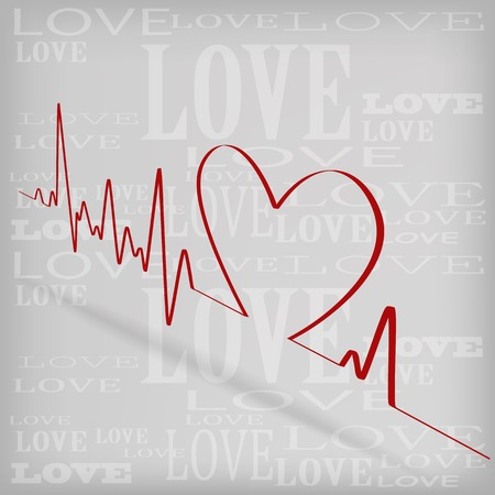 Red Heart Beats Cardiogram on White background - vector illustration Vector