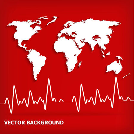 stress test: White Heart Beats Cardiogram on Red background - vector illustration