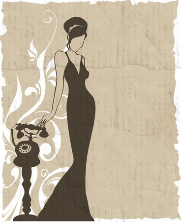 the vintage retro woman silhouette background - vector illustration Vector