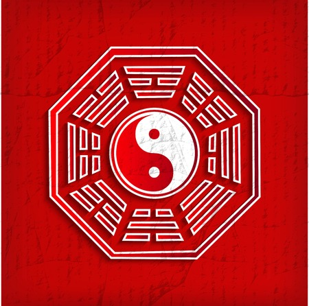 daoism: Chinese Bagua symbol on red - vector illustration