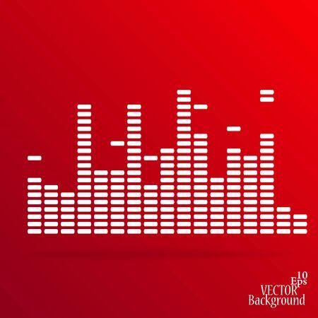 sound card: White digital equalizer background on red - vector illustration Illustration