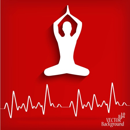 silhouette yoga poses on a red background with cardiogram - vector illustration Vector
