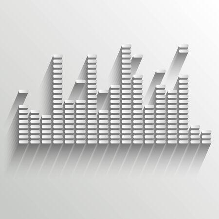 White digital equalizer background on white - vector illustration